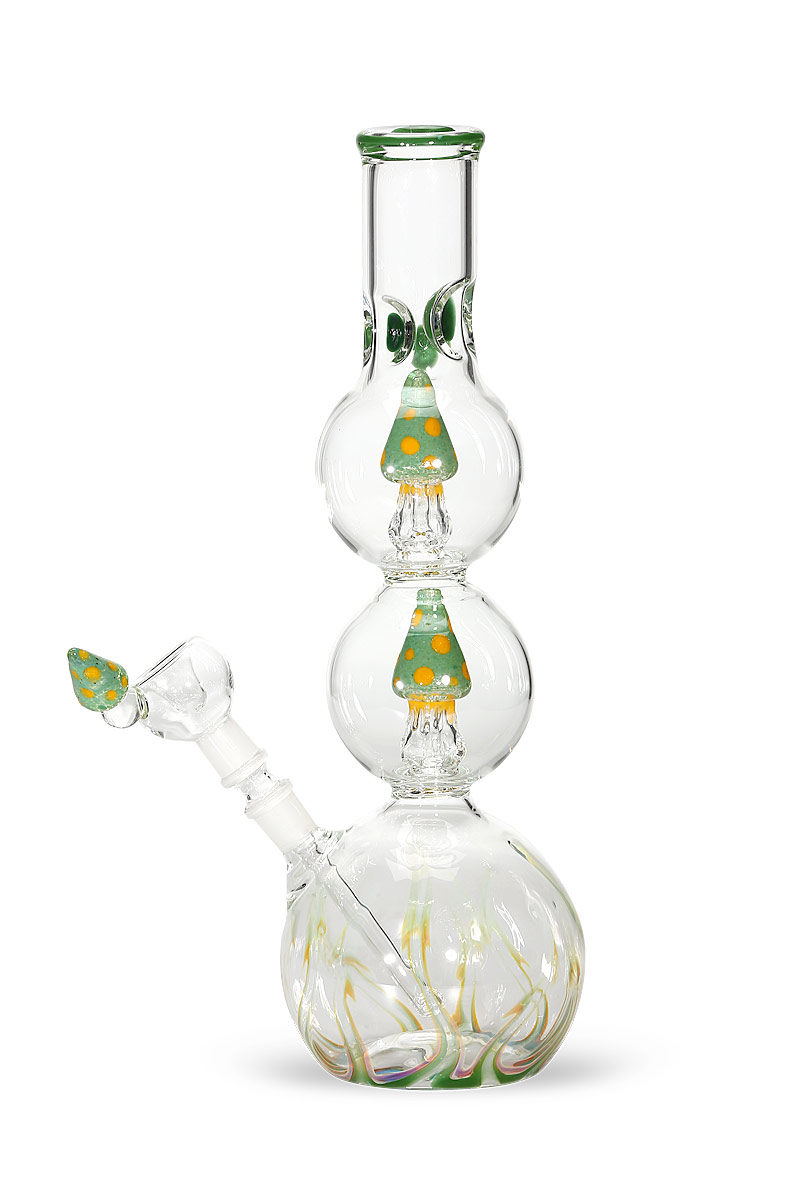 Green Mushroom Double Percolator Bong