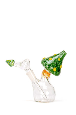 My-Burn.com Green Mushroom Glass Water Pipe