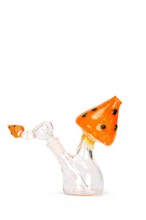 My-Burn.com Orange Mushroom Glass Water Pipe